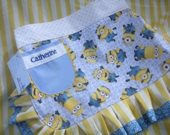 Girls Aprons - Girls Minion Aprons - Universal Despicable Me Apron - Size 6-8 Girls Aprons - Annies Attic Aprons -  - Half Girls Aprons