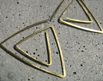 Sacred geometry, modern triangle hoops,  geometric earrings in hammered gold tone brass