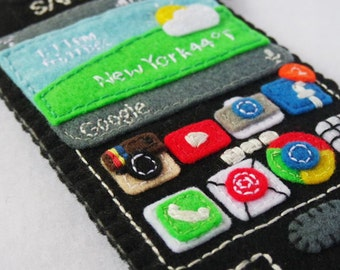 handmade You've mail pocket cozy for Galaxy S4 / Galaxy A3 / smaller smartphone with Instagram, facebook, Google Chrome Apps