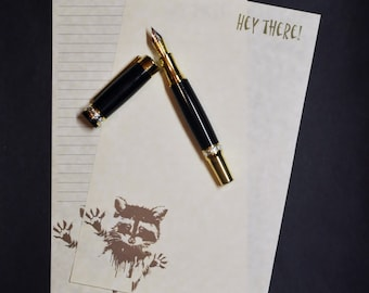 Hey There, playful raccoon, stationery, letter writing set, parchment paper, 30 pieces, lined or unlined, penpal, snail mail, paper goods