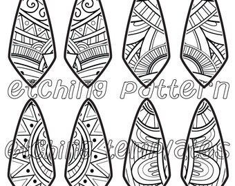 Digital Pattern for Etching floral Kite Earrings Download 3449-2 kite