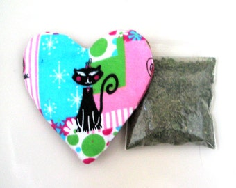 Catnip Heart Toy with Catnip Refillable Retro Cats