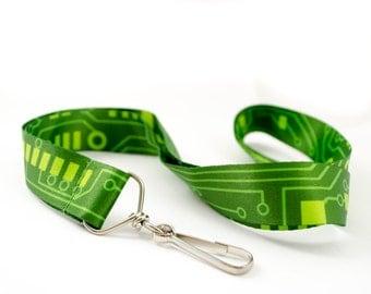 Green Circuit Board Lanyard, Circuit Board Keychain, Geek Gift, Wearable Technology Gift, Engineer Gift Stocking Stuffer, Nerd Lanyard