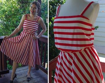 NAUTICAL Stripes 1970's Vintage Red + White Striped Sleeveless Summer Dress // size Small