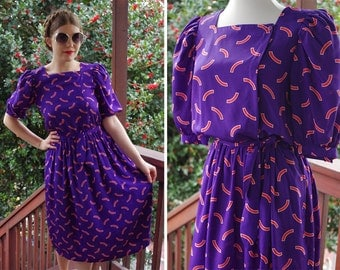 New WAVE // 1970's 80's Vintage Wacky Purple + Orange Dress with Puffed Sleeves + Belt // size Small Med // Liz CLAIBORNE