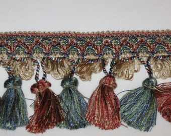 FREE SHIP-Multi Color Tassel Trim-12yd Long X 3.5in Wide-Pillows/Shades/Home Decor (#37)