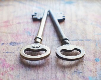 Large Antique Brass Skeleton Keys - Railroad Keys - RR
