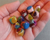 Colorful Cube BEADS Handmade POLYMER Clay by Barbara Poland-Waters