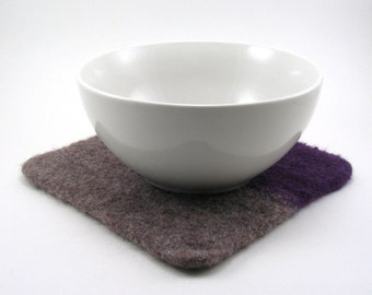 Felted wool trivet - felted hot pad - color block trivet - taupe and grape