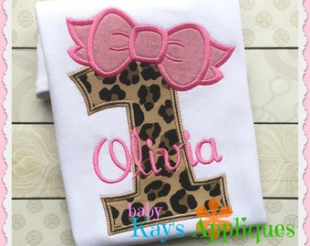 Bow Birthday Numbers 1-9 Applique Designs 4x4, 5x7, 6x10, 8x8