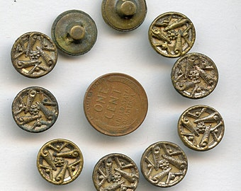 Victorian Buttons Set of (10) Metal Antique Circa 1880  Matching 9/16 inch size 1672