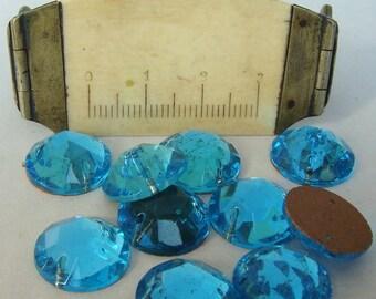 Glass AQUA Sew On Trim 13 mm Circle (12)  Vintage Glass Bead Foil Flat Back Mirrored jc soaqrd13 MORE AVAILABLE