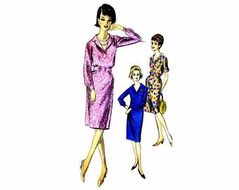 1960s Sheath Dress Vogue 5776 Vintage Sewing Pattern Chemise Dress Misses Size 14 Bust 34 UNCUT