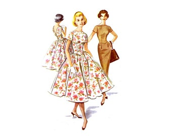 1950s V-Back Slim or Full Skirt Dress McCalls 4123 Vintage Sewing Pattern Size 13 Bust 33