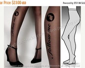 SALE25%off/// Small/ Medium  DARK Grey  follow me WHITE Rabbit version  tights / stockings /  full length  / pantyhose / nylons