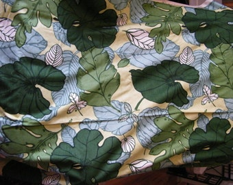 "Bold design Vintage drapery fabric, MM, Vat Colored ""Autumn Leaf"" tropical, green, sage, light yellow, hosta, elephant ears, ferns"