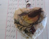 Chickadee - Christmas Ornament - Collage Bird - Mixed Media - Heart