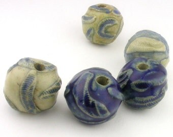 Ceramic Beads, Stoneware Beads, Blue Beads, white beads, blue and yellowish-white beads, Textured Beads, Sprig Beads, artist beads, bead set