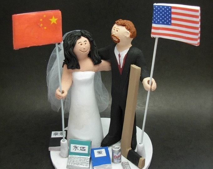 Chinese Bride and American Groom Wedding Cake Topper, Mixed Race Wedding Cake Topper, Interracial Wedding Anniversary Gift Figurine.