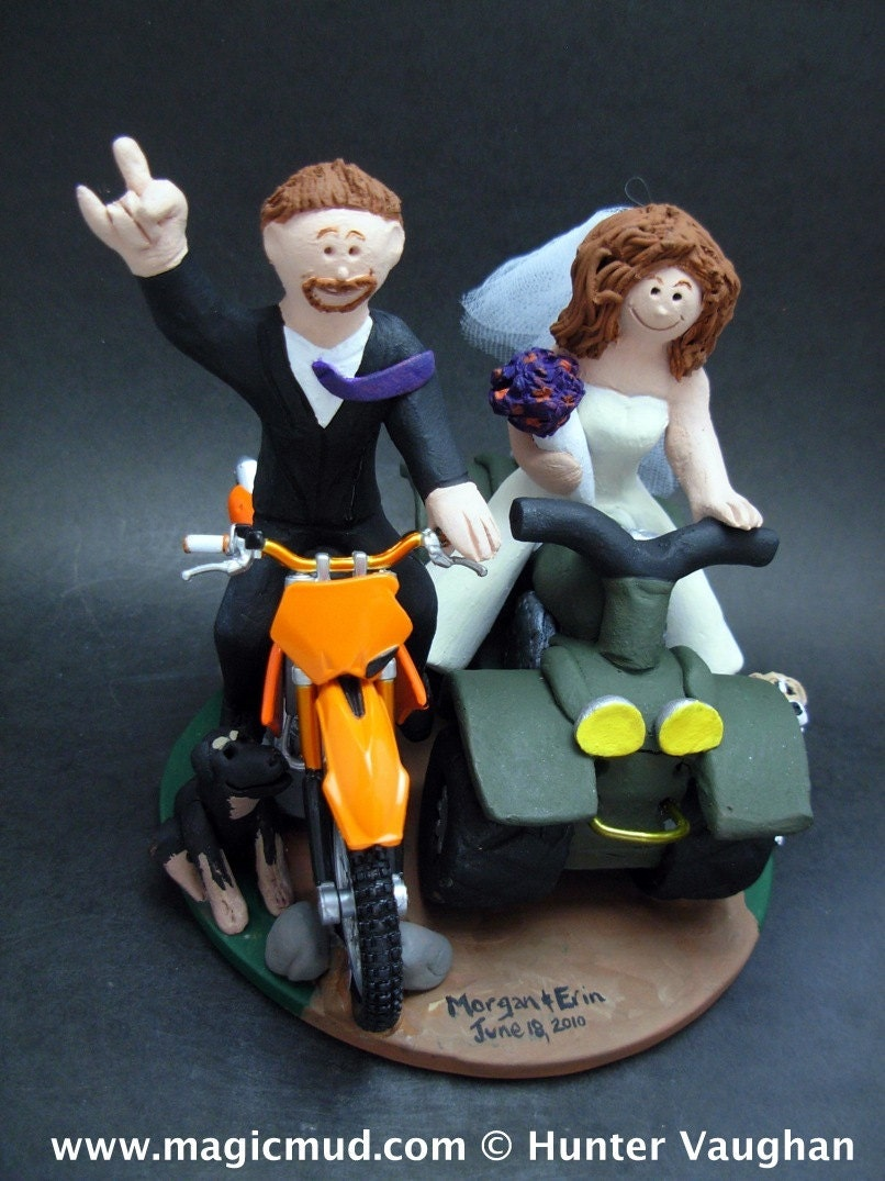 atv wedding cake topper on atv groom on motorcycle wedding by weddingcaketoppers 10890