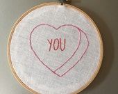 You - hand drawn and embroidered converstion hearts hanging