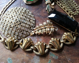 Shabby Repurpose Jewelry ... Art Deco Necklace, Rhinestones, Chain Bits ...  More. As Found.