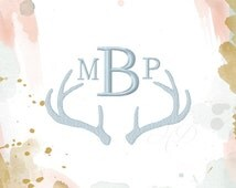 Antler Monogram Embroidery Frame Machine Embroidery Design BX Instant download 4x4 5x7 6x10