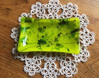 Lime Green Confetti Fused Glass Soapdish