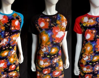 Raglan Maxi Dress with Fireworks Print and Contrast Sleeves, Three Color Options, Festival Dress