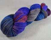 NEW Hand Dyed DK Weight Yarn Polworth and Silk - Tango by Yarn Hollow - Blue Sheen Mod Multi Color 4 ounces 330 yards