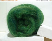 Valentine Sale Green Felting wool,spinning fiber roving, Firestar, pine, evergreen,  green, forest, Christmas, St. Patrick, Easter basket, h