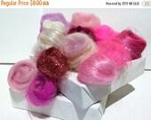 Valentine Sale Pink Fiber Art kit Sampler, felting wool, spinning, blending board fiber, Needle Felting kit, pink palette: fuschia, cotton c