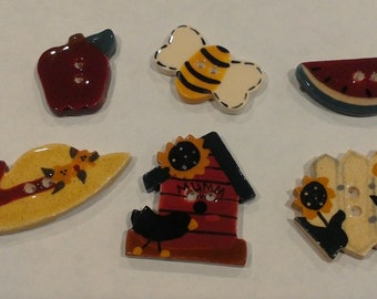 Mill Hill Hand Painted Ceramic Buttons-Summer Time 2-All profits go to charity