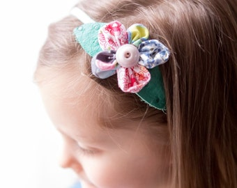 Multicolor Fabric Petals Flower Headban with Leather Leaves #3