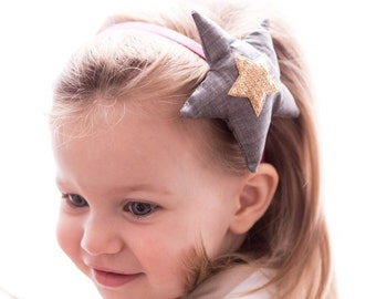 Oversize Fabric Star Headband - Seqines Heart  Gray Star-