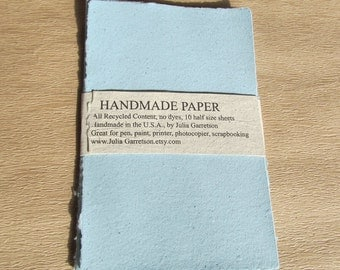 Upcycled Handmade Paper from Recycled materials. Eco- Friendly, Blue Newsletters, 8 1/2 x 5.5 inches-Recycled Handmade Paper