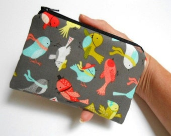 Zipper Pouch Little Coin Purse ECO Friendly Padded NEW Birds Life