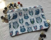 Whimsical Owls zippered pouch