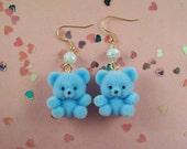 Flocked Teddy Bear Earrings
