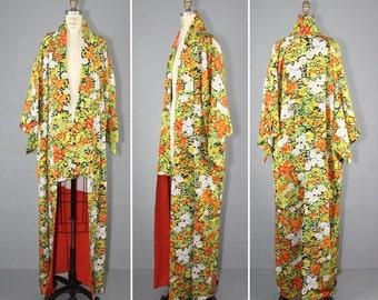 kimono sale / vintage kimono / silk robe / floral / NIGHT GATHERING silk kimono