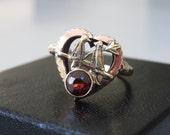 Antique 10K Gold and Garnet Lovebirds Ring, Size 5.5-75