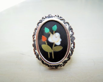 Victorian Silver and Pietra Dura Ring