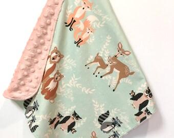 Baby Minky Lovey Security Blanket Woodland Hello Deer Bear Fox forest animals
