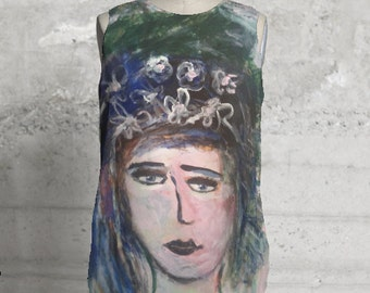 """NEW ITEM! Custom printed designer sleeveless blouse, """"Starry Eyed Girl"""", made from my own original painting, all sizes available"""