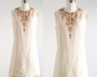 Vintage Cream Dress with Wood Beading