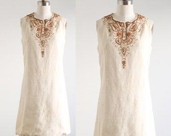 Vintage Cream Dress with Wood Beading