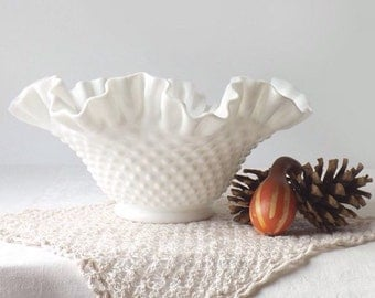 Fenton Milk Glass Bowl, White Ruffled Rim, Hobnail Pattern, Mid Century Art Glass, Wedding Table Decor