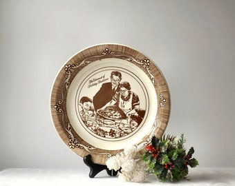Vintage Norman Rockwell Ceramic Pie Plate, Freedom From Want, Brown and White Baking Pan