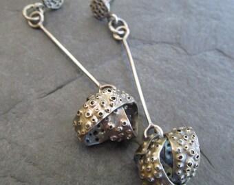 Long Silver Dangling Earrings Funky Sea Life inspired Knot Dangle Post Earrings