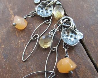 Silver Dangling Earrings Charm Post Stud BOHO Yellow Orange Gemstone Cluster Earrings